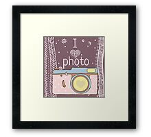 Vector hand drawn photo camera with text Framed Print