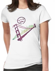 Stencil Golden Gate San Francisco Outline Womens Fitted T-Shirt