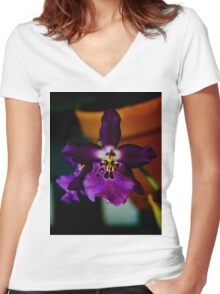 Potted Purple Orchid  Women's Fitted V-Neck T-Shirt