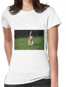 beagle walking Womens Fitted T-Shirt