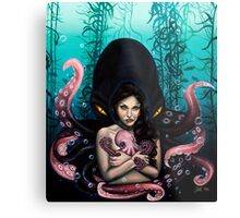 Woman with Baby Octopus and Tentacles Painting Metal Print