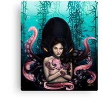 Woman with Baby Octopus and Tentacles Painting Canvas Print