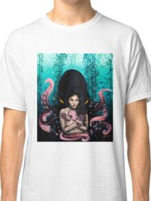 Woman with Baby Octopus and Tentacles Painting Classic T-Shirt