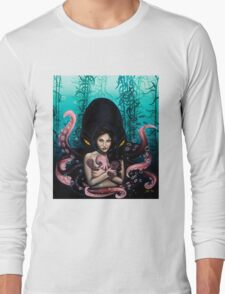 Woman with Baby Octopus and Tentacles Painting Long Sleeve T-Shirt