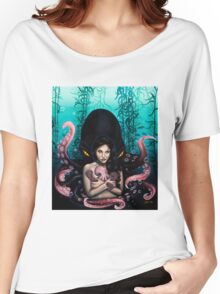Woman with Baby Octopus and Tentacles Painting Women's Relaxed Fit T-Shirt