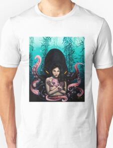 Woman with Baby Octopus and Tentacles Painting Unisex T-Shirt