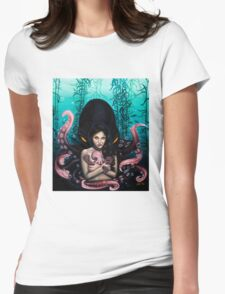 Woman with Baby Octopus and Tentacles Painting Womens Fitted T-Shirt