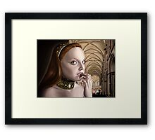 Dark Renaissance Girl in Cathedral Framed Print
