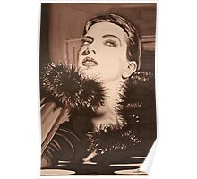 Lady In Fur -  Sepia Poster
