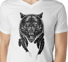 Dreamcatcher Wolf Mens V-Neck T-Shirt