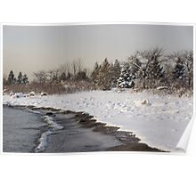 The Snow Just Stopped - a Winter Beach on Lake Ontario Poster