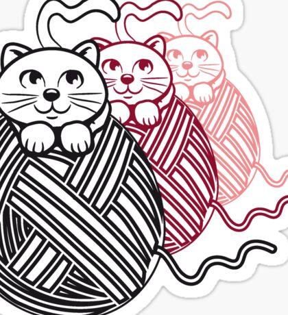 Katze baby niedlich wollknäuel design  Sticker