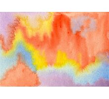 Hand-Painted Abstract Watercolor Sunset in the Rain Photographic Print