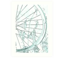 old bicycle in the meadow Art Print