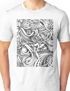 Escher Like Abstract Hand Drawn Graphite Gray Depth Unisex T-Shirt