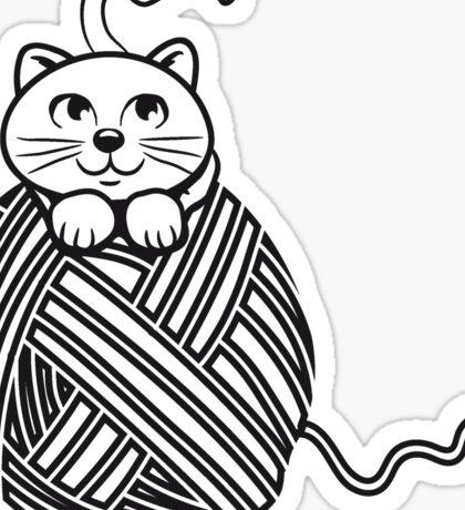Katze baby niedlich wollknäuel  Sticker