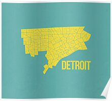 Detroit Roads (Teal/Yellow) Poster