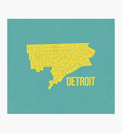 Detroit Roads (Teal/Yellow) Photographic Print