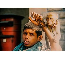 Intellectually disabled boy and his monkey, India Photographic Print