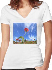 Zinnias Women's Fitted V-Neck T-Shirt
