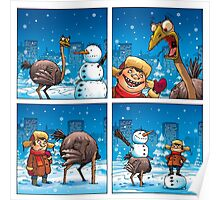 Ostrich and snowman Poster