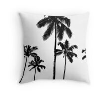 Tropical palms in monochrome Throw Pillow