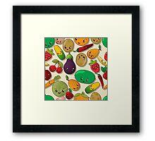 Seamless kawaii pattern Framed Print