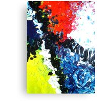Trail abstract conceptual painting blue yellow red black white Canvas Print