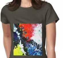 Trail abstract conceptual painting blue yellow red black white Womens Fitted T-Shirt
