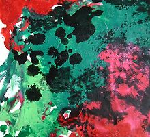 Nebula Abstract Painting in red green and black by 7RayedDesigns
