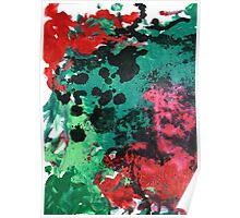 Nebula Abstract Painting in red green and black Poster