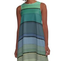 Striped in blue and green tones and a simple pattern .  A-Line Dress