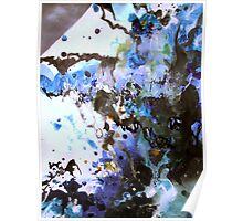 Hail Blue Storm Abstract Painting Poster