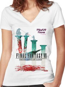 Final Fantasy VII: The Sacrifice Of Cloud - Numbers and Characters With Blood Women's Fitted V-Neck T-Shirt