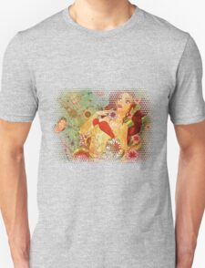 Grunge red bikini girl on floral background T-Shirt
