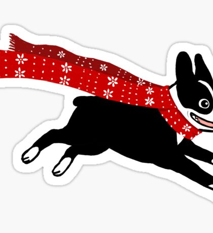 Holiday Boston Terrier Wearing Winter Scarf Sticker