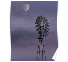 Moon over Windmill Poster