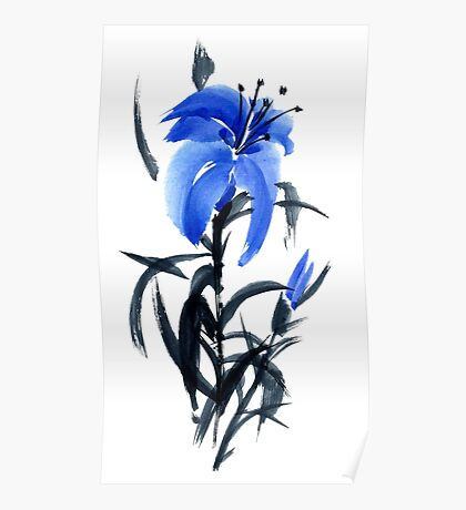 Blue lily Poster