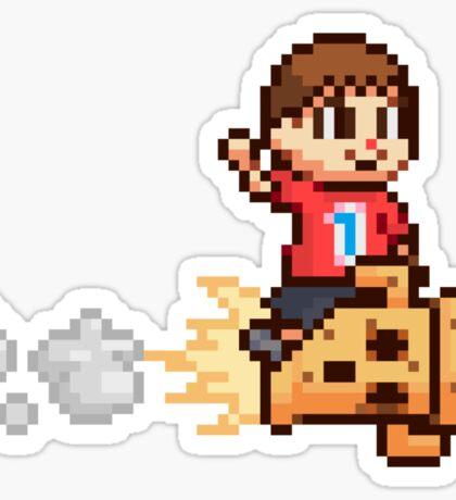 8-Bit Villager Riding Lloid Rocket (SSB4) Sticker