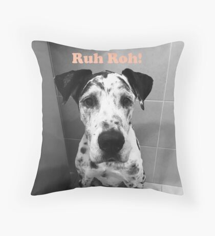 Ruh Roh! - Great Dane Throw Pillow