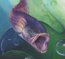 Large Mouth Sea Bass with Lure and Bubbles by Sonya Ann Barnes
