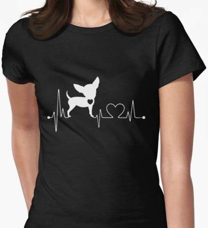 Funny Chihuahua, Chihuahua Heartbeat Womens Fitted T-Shirt