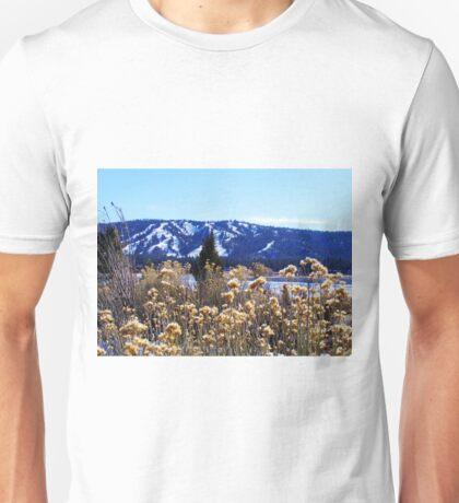 WINTERY PLANTS AND SNOW AT BIG BEAR LAKE Unisex T-Shirt