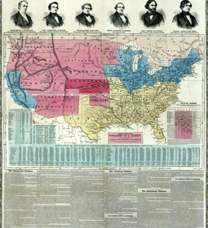 United States - National political map - 1856 Sticker
