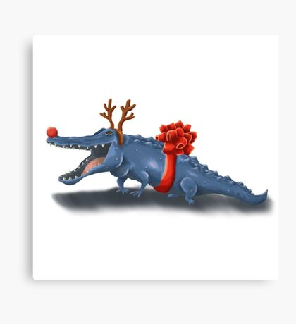 Christmas Crocodile Canvas Print