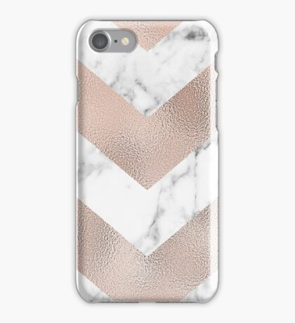 Rose gold marble chevron iPhone Case/Skin