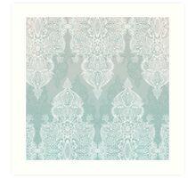 Lace & Shadows - soft sage grey & white Moroccan doodle Art Print