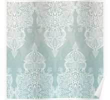 Lace & Shadows - soft sage grey & white Moroccan doodle Poster