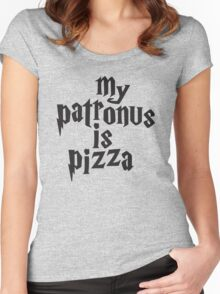 My Patronus Is Pizza, Funny Harry Potter Pizza Shirt, Quote Women's Fitted Scoop T-Shirt