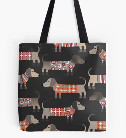 Sausage Dogs in Sweaters Dark Tote Bag